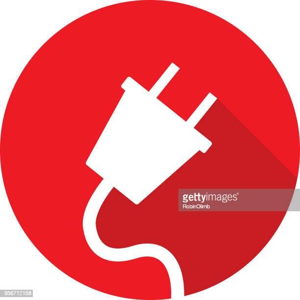 red round plug icon - electric plug stock illustrations, clip art, cartoons, & icons