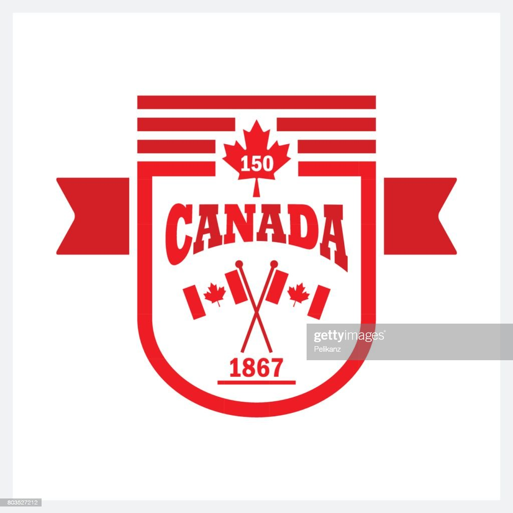 Red rounded banner Canada 150 and flags emblem icon on white background