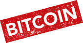 Red Rubber Bitcoin Stamp Icon on Transparent Background