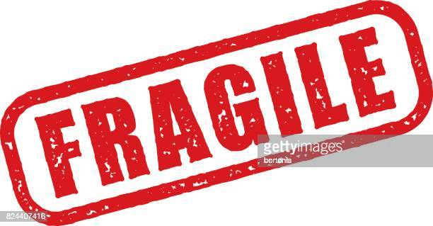 red rubber stamp icon on transparent background - fragile sign stock illustrations