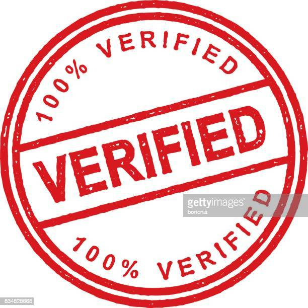 red rubber stamp icon on transparent background - verification stock illustrations