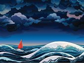 Red sailboat and stormy sky