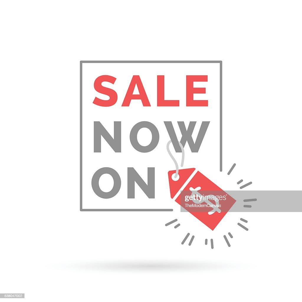 Red sale now on sign with dollar price tag icon.