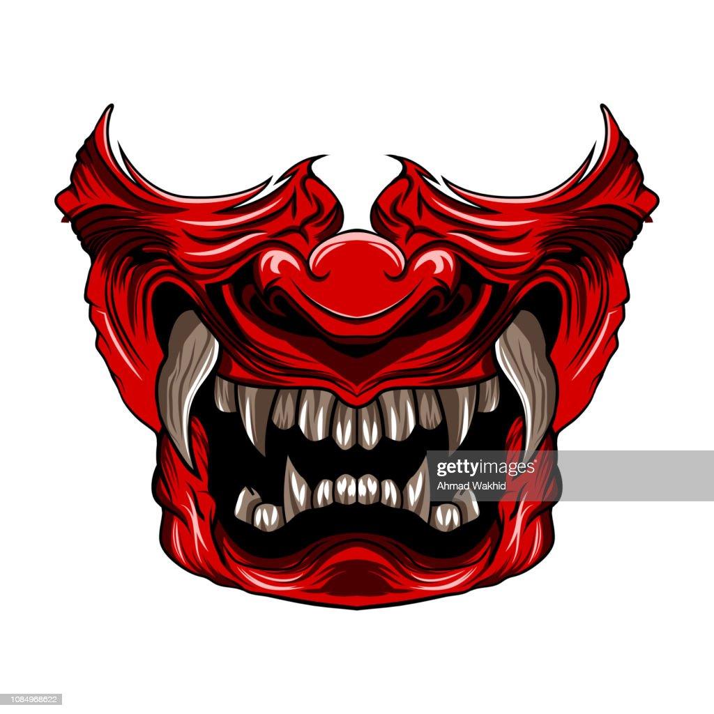 Red Samurai mask vector illustration