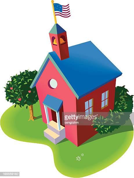 ilustraciones, imágenes clip art, dibujos animados e iconos de stock de rojo schoolhouse - edificio de escuela primaria