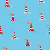 red sea buoy seamless pattern.