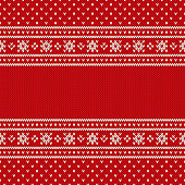 Red Seamless Knitted Pattern. Christmas and New Year Design Background with a Place for Text. Wool Knitting Texture Imitation