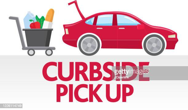 red sedan car and groceries in a shopping cart with curbside pick up text - curbside pickup stock illustrations