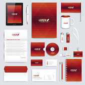 Red set of vector corporate identity template. Modern branding stationery