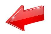 Red shiny arrow. Backwards. Vector 3d illustration