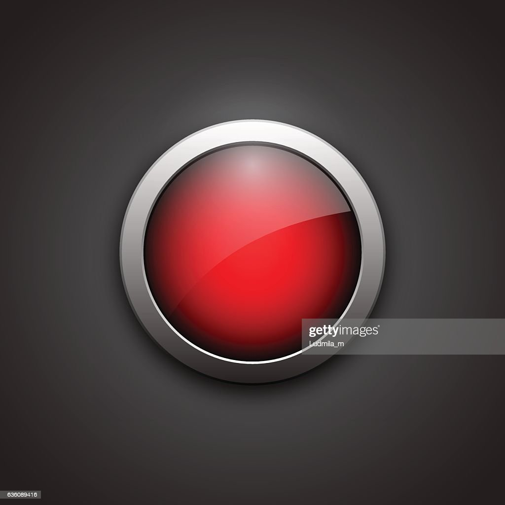 Red shiny button with metallic elements.