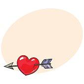 Red shiny cartoon heart pieced by Cupid arrow, love symbol