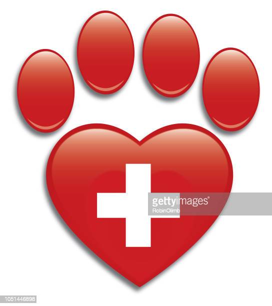 red shiny cross heart paw print - lip gloss stock illustrations, clip art, cartoons, & icons