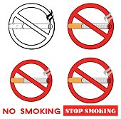 Red Sign Design No Smoking With Cigarette With Text Stop Smoking. Collection Set