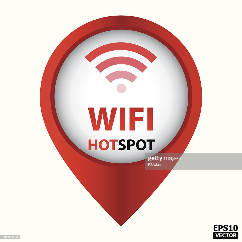 Red sign for Wifi hotspot on white background