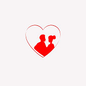 red silhouette of a heart with a loving couple