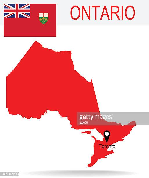 Red silhouette of the province of Ontario, Canada