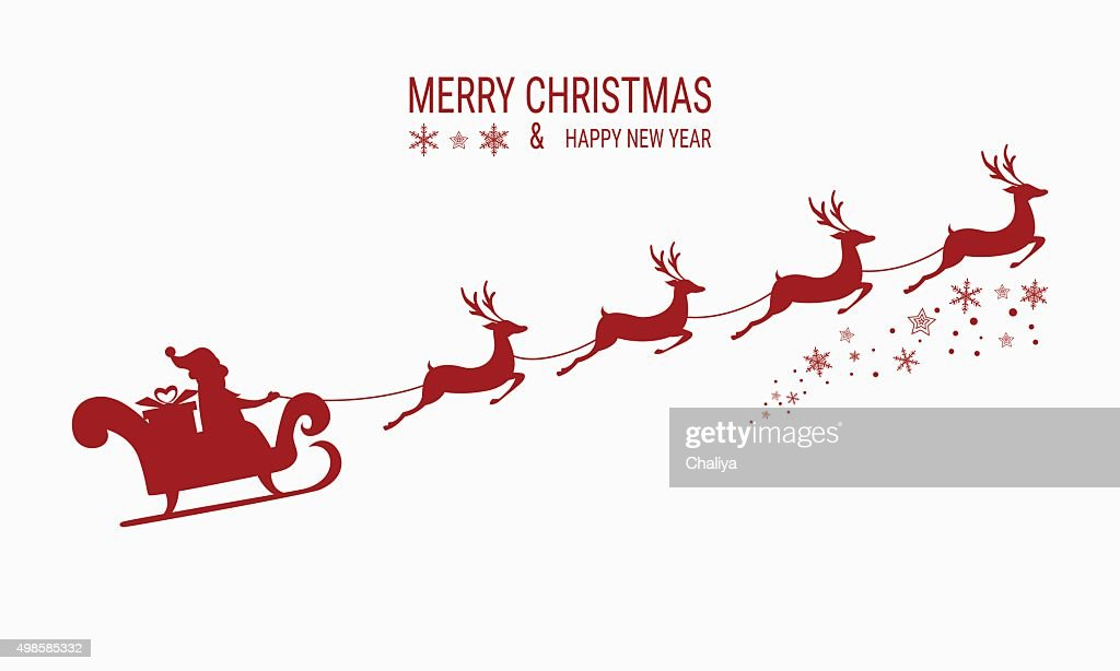 Red Silhouette. Santa claus flying with reindeer sleigh.