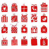 Red simple gift boxes for holiday celebrations Scandinavian Nordic style. Christmas, new year presents. Collection of boxes with simple decoration hand drawn