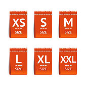 Red Size Clothing Labels Set. Vector