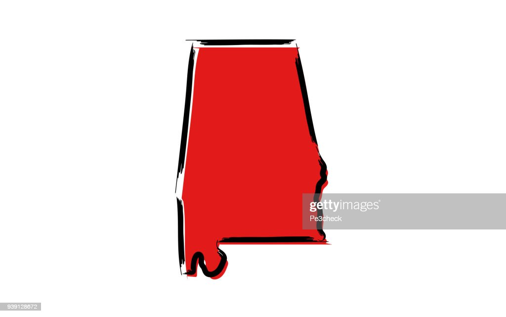 Red sketch map of Alabama