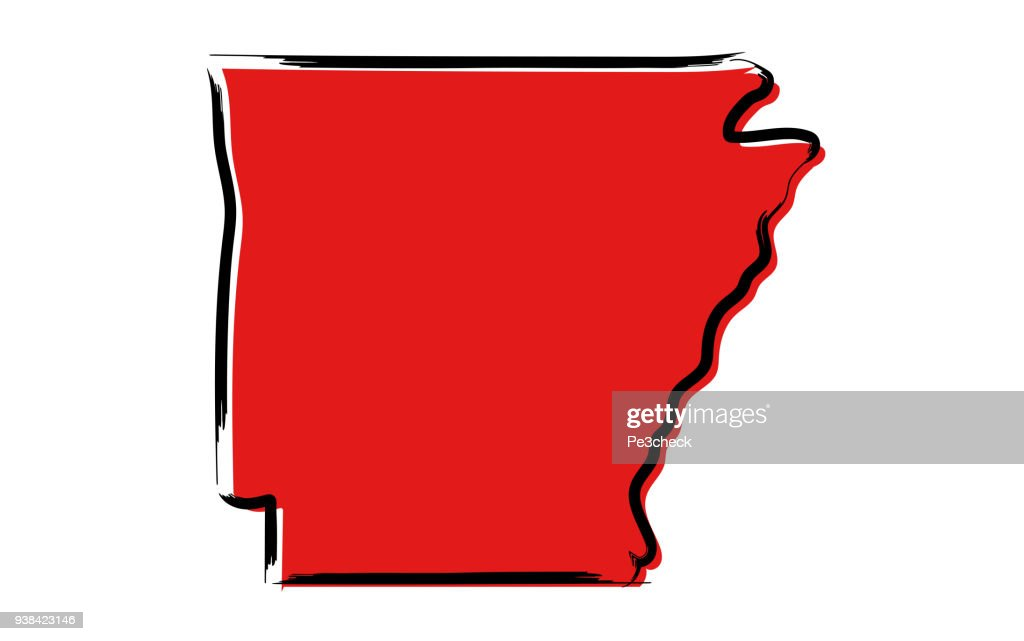 Red sketch map of Arkansas