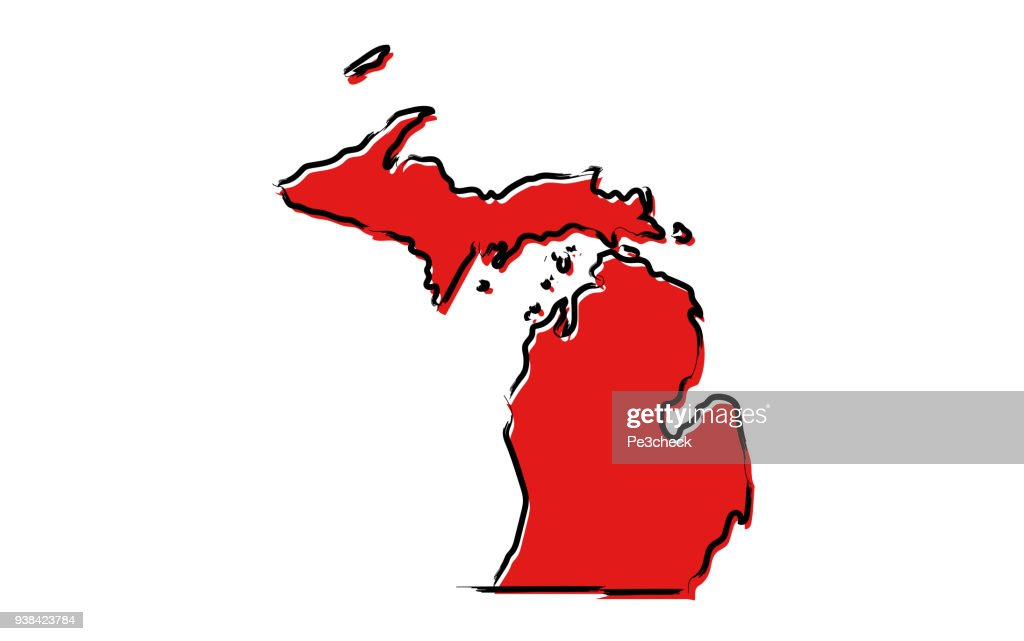 Red sketch map of Michigan