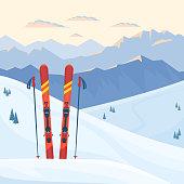 Red ski equipment at the ski resort.
