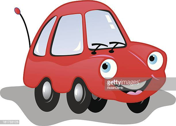 red smiling car - compact car stock illustrations, clip art, cartoons, & icons