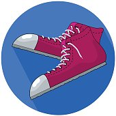 Red sneakers vector illustration in flat style.