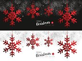 Red Snowflake social media cover for christmas