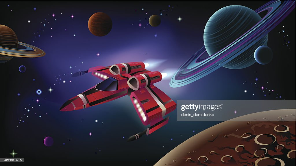 Red spaceship illustration over planets in space