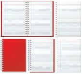 Red spiral notebooks and paper