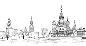 Red square view, Moscow, Russia. Travel Russia skyline