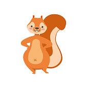 Red Squirrel Standing With Hands On Hips Humanized