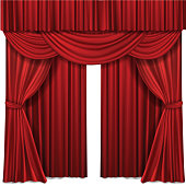 Red stage curtains realistic vector illustration for theater or opera scene performance
