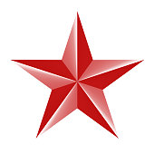 Red star 3d icon isolated on white. Vector illustration for USSR design.