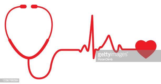 ilustrações, clipart, desenhos animados e ícones de ícone do pulso cardíaco do estetoscópio vermelho - estetoscópio