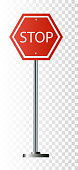 Red Stop Sign, Isolated Traffic Regulatory Warning Signage Octagon, White Octagonal Frame,