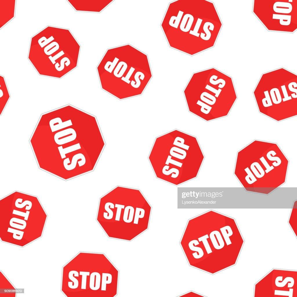 Red stop sign seamless pattern background. Business flat vector illustration. Danger sign symbol pattern.