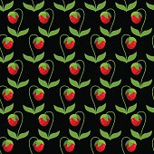 Red strawberries with green leaves on a black background. Seamle