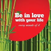 Red sun in bamboo forest - poster with quote