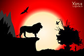 Red sunset in the jungle with mountains, old tree, birds lion and meerkat. Vector background
