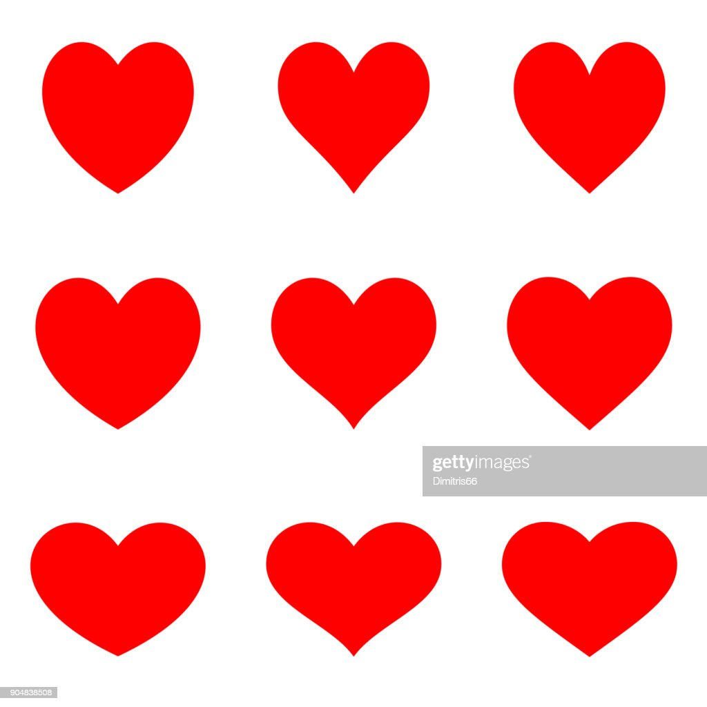 Red symetric hearts - Flat icon set : stock vector