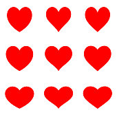 Red symetric hearts - Flat icon set