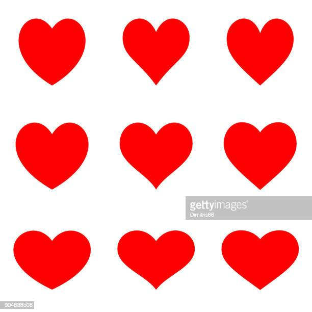 stockillustraties, clipart, cartoons en iconen met rode symmetrische hearts - flat pictogramserie - liefde