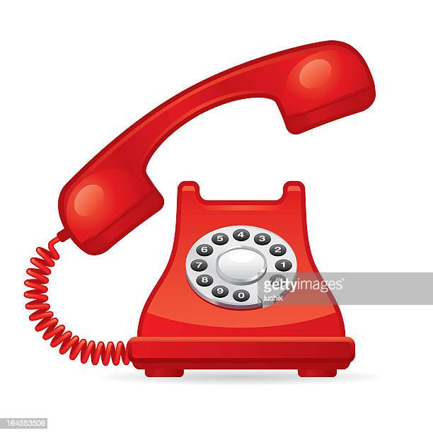 red telephone with phone off the hook - telephone line stock illustrations, clip art, cartoons, & icons