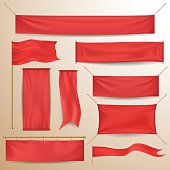 Red textile banners and flags