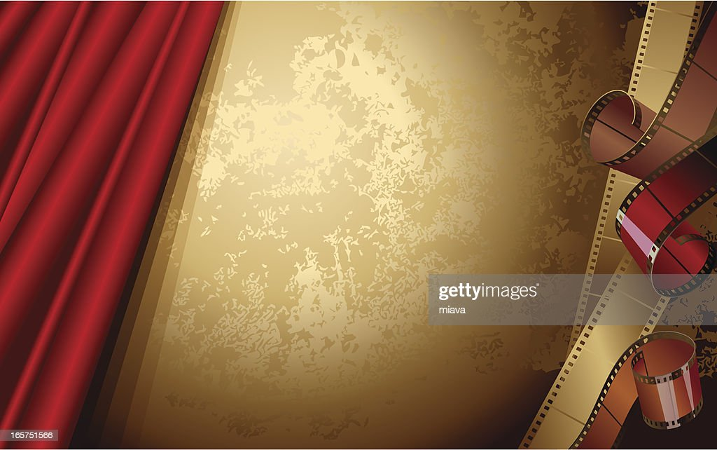 Red theater curtain on a bronze background with film strips : stock illustration