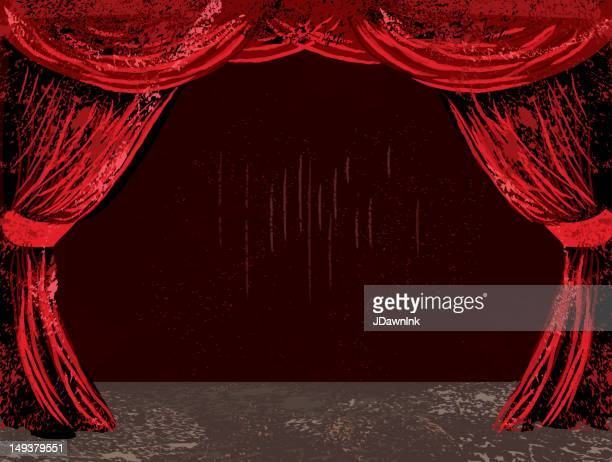 Red theatre curtains and stage